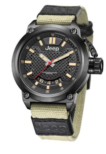 Jeep Wrangler Series JPW61503 Multifunction Watch Black Khaki Canvas