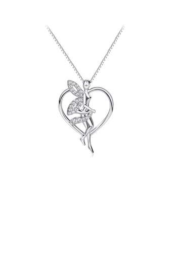 Glamorousky white 925 Sterling Silver Fashion and Elegant Elf Heart Pendant with Cubic Zirconia and Necklace 17E48ACDB5D34EGS_1
