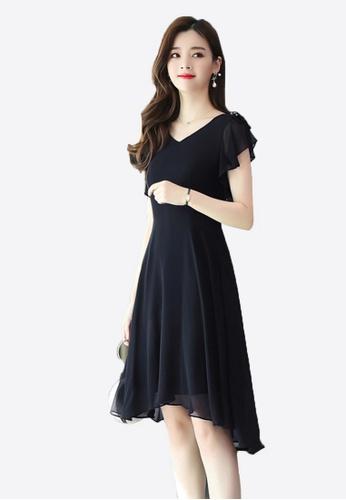 Halo black OL Black Chiffon Dress F26C2AA6521BBCGS_1