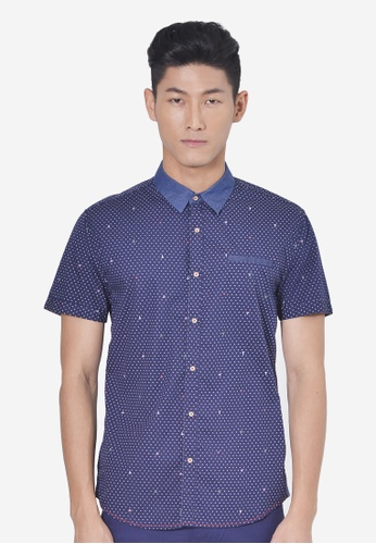 Private Stitch navy Full Printed Short Sleeve Shirts PR777AA58AABMY_1