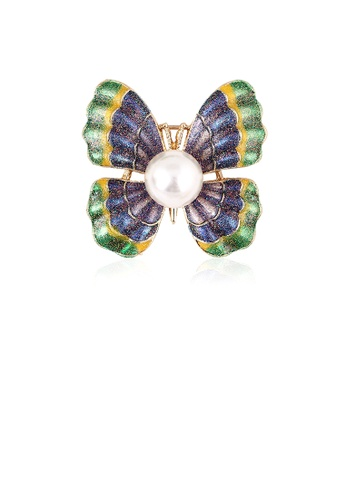 Glamorousky white Fashion Simple Plated Gold Color Butterfly Imitation Pearl Brooch C8CA1ACB14876BGS_1