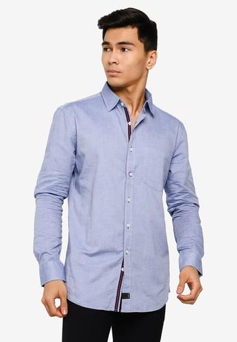 UniqTee blue Oxford Collar Long Sleeve Shirt 36C77AAF9DB49AGS_1