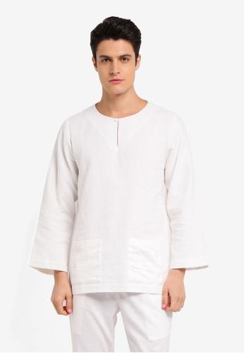 Zalia Homme white Contrast Pocket Top FA2CAAA8337ADEGS_1