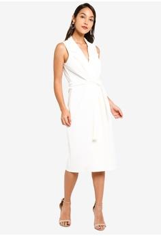 80410c68675e MISSGUIDED Sleeveless Belted Midi Blazer Dress S$ 61.90. Sizes 6 8 10 12 14