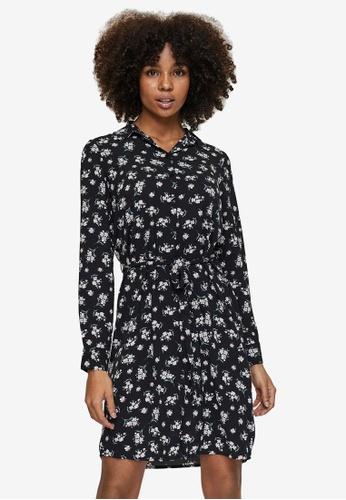 Vero Moda black Saga Long Sleeve Abk Collar Shirt Dress 21B4BAACB5E254GS_1
