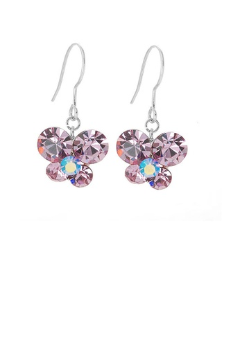 Glamorousky purple Butterfly Earrings with Purple Austrian Element Crystals 8716CAC7EA3578GS_1