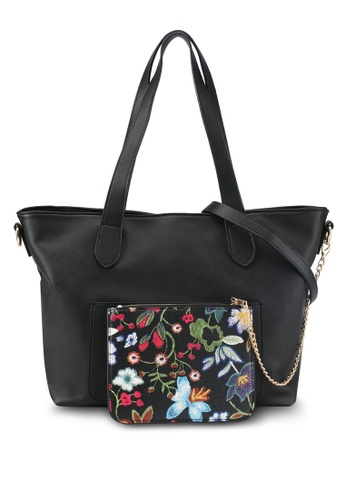 ZALORA black Large Tote With Floral Pouch 0E590AC937E13AGS_1