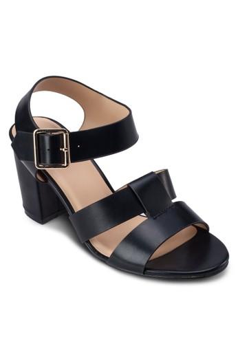 雙寬帶繞踝zalora 心得粗跟涼鞋, 女鞋, 中跟