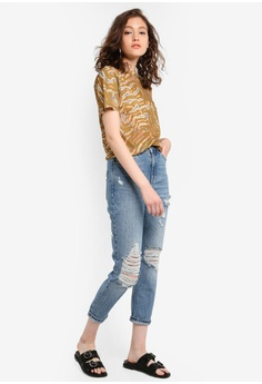 486e6b37c0c TOPSHOP Petite Destroy Ripped Mom Jeans S$ 106.00. Sizes 25 26 28 32 · Lara  blue Women High Rise Cropped Jeans 61F95AA8967FFAGS_1
