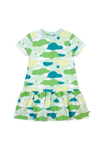 OETEO green and multi Camo Flash Drop Waist Ruffle Dress (Green) EFBFEKAAFF9589GS_1
