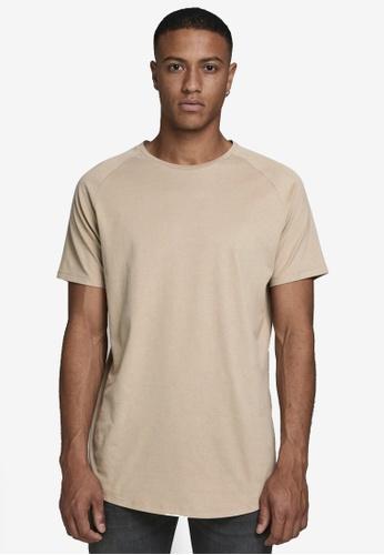 Jack & Jones beige Curved Short Sleeves O-neck Tee 5C84FAAE160973GS_1