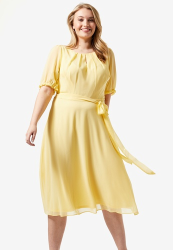 Dorothy Perkins yellow Curve Yellow Ruffle Midi Dress 793EBAA84C6B8BGS_1