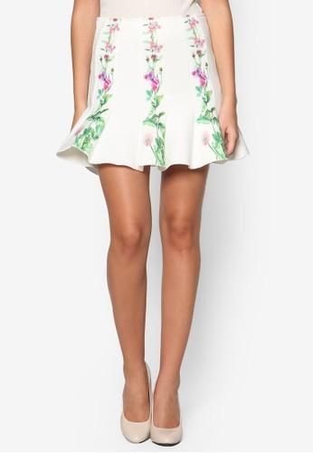 花卉印花喇叭短裙esprit服飾, 服飾, 裙子