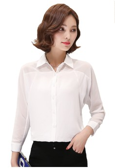 Seethrough Chiffon White Blouse Shirt