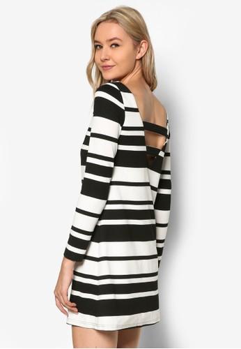 Love 背部雙帶長袖條紋連身裙,esprit 品牌 服飾, 洋裝