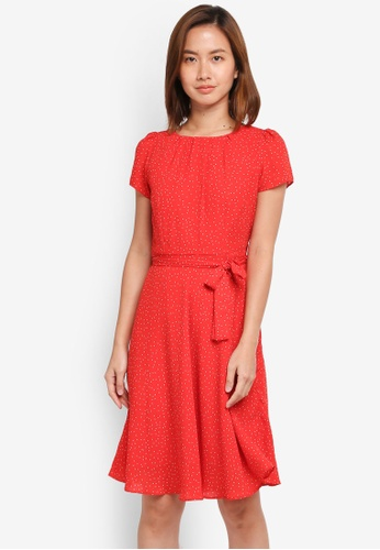 Dorothy Perkins red Billie & Blossom Red Chiffon Spotted Dress B9861AA2C35BA9GS_1