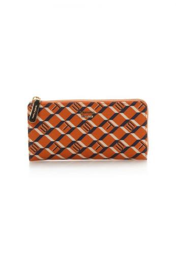 Samantha Thavasa orange and multi and beige and navy Samantha Thavasa Monogram Long Zipper Wallet A856CACC841CC1GS_1