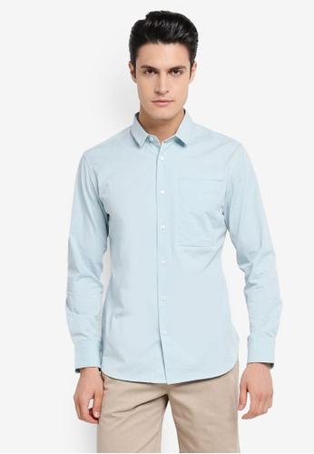 ZALORA blue Soft Cotton Twill Long Sleeve Shirt 67F3CAAF7EF4D7GS_1