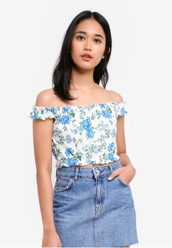 TOPSHOP blue Strappy Floral Bardot Top AE6AEAA5ECF899GS_1