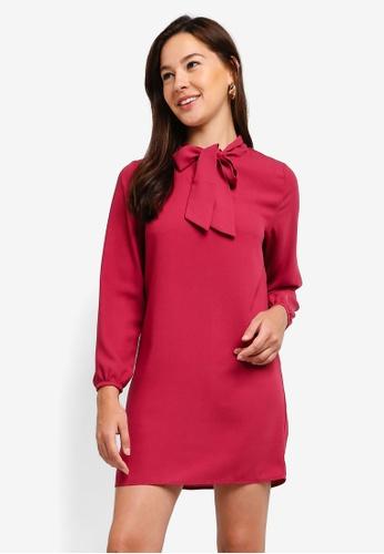 ZALORA pink Tie Bow Long Sleeves Dress 1A031AA5B5D51CGS_1