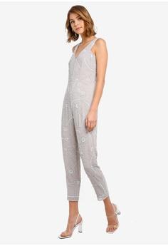 b02aa611fcf66 Miss Selfridge Grey Embroidered Tapered Leg Jumpsuit HK  1