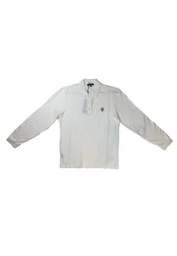 Gucci white PRE-LOVED GUCCI COTTON LONG SLEEVE POLO WITH ANCHOR CREST 55E72AA6F5E4F1GS_1