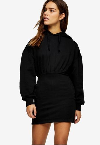 TOPSHOP black PETITE Black Jersey Hoodie Dress ED702AA3AFE963GS_1