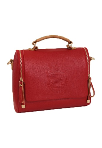 Jackbox red Korean Casual British Retro PU Leather Shoulder Sling Bag 313 (Red) JA762AC65ALMMY_1