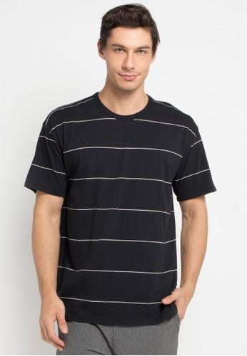 hurley black Salton Stripe Crew T-Shirt D9973AA682CF00GS_1