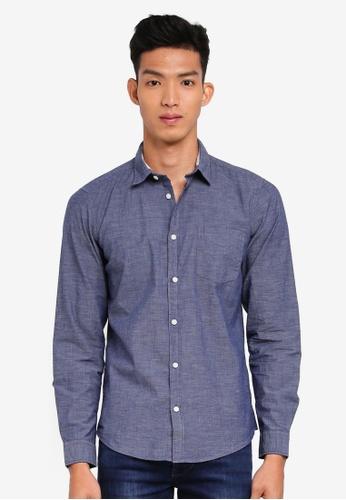 ESPRIT 海軍藍色 休閒長袖襯衫 15B24AA8999A53GS_1