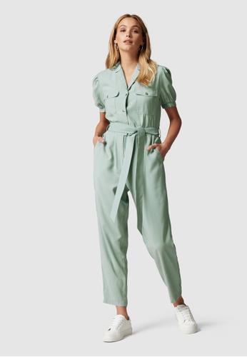 Forever New green Zara Puff Sleeve Utility Jumpsuit 75E1EAACA662D1GS_1