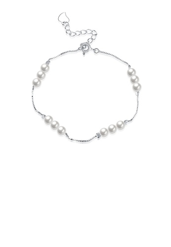 Glamorousky white 925 Sterling Silver Elegant Pearl Bracelet 3088EAC3AAC3D3GS_1