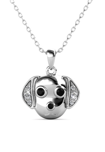 Her Jewellery silver Beagle Pendant (White Gold) -  Embellished with Crystals from Swarovski® EEA08AC1162689GS_1