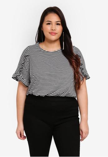 Dorothy Perkins multi Plus Size Black Stripe Frill Sleeve Top 47402AA50404CCGS_1