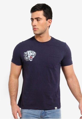 OVS navy T Shirt With Pocket D5014AA4BE9AC4GS_1