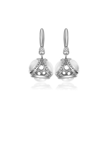 Glamorousky white Noble and Elegant Geometric Sphere Earrings with Opal and Austrian Element Crystal 8FBA5ACFCDD562GS_1