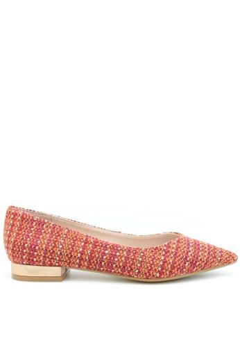 PRODUIT PARFAIT 紅色 格仔布尖頭平底鞋 D89E8SHC269489GS_1