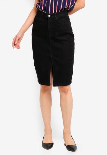 ZALORA BASICS black Basic Denim Front Slit Skirt 3C31DAAA8AB685GS_1