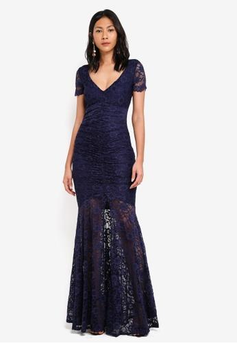 Goddiva navy Lace Maxi Dress With Front Split 28273AAD155878GS_1