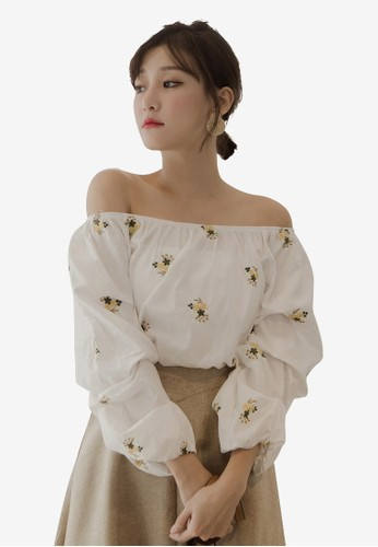 Tokichoi white and multi Floral Embroidered Off Shoulder Top 263B7AA3C4AA7EGS_1