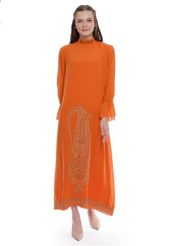 Devain Kapoor orange Kashmir Paisley Motif Dress D93C8AA7B000CAGS_1