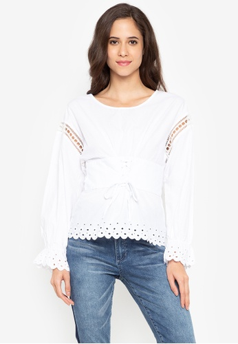 914884d243 Shop Guess  Long Sleeves Erin Corset Top Online on ZALORA Philippines