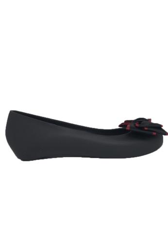 Halo black Bow Waterproof Jelly Flats Shoes B9C86SHF03036DGS_1