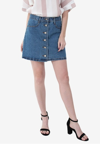 1d5ecf145ac Shop Somura High Waist Denim Skirt Online on ZALORA Philippines