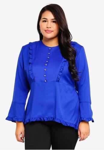 Gene Martino blue Plus Size Ruffles Blouse D3707AAD5033FCGS_1