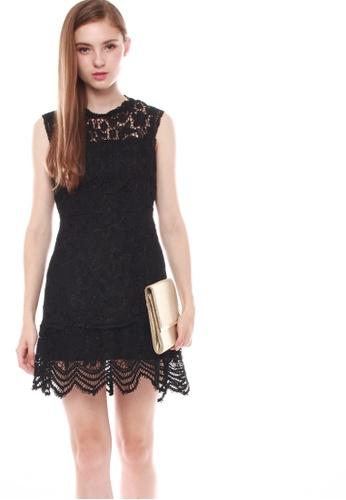 JOVET black Fluted Hem Lace Dress 64A2BAAAEA3951GS_1