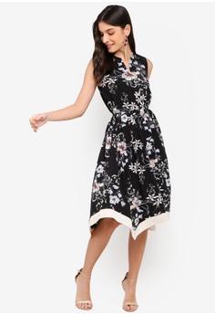 7204ad673b1 ZALORA black and multi Contrast Hem Fit And Flare Dress D4C2FAA98BFB22GS 1