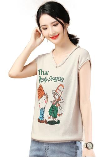 A-IN GIRLS beige V-Neck Print Sweater 76135AA9A217EBGS_1