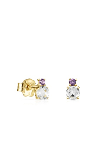 Tous white and purple and gold TOUS Mini Ivette Earrings in Gold with Prasiolite and Amethyst C002BAC51AD2C4GS_1