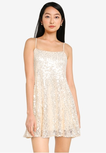 KOTON beige Sequin Mini Dress D530AAA86DBFA6GS_1